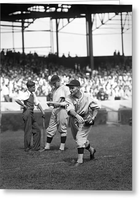 National League Baseball Photographs Greeting Cards - Lloyd J. Waner Greeting Card by Retro Images Archive