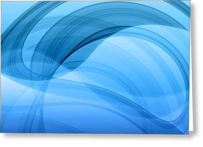 Geometric Effect Greeting Cards - Modern Blue Abstract  Greeting Card by GP Images