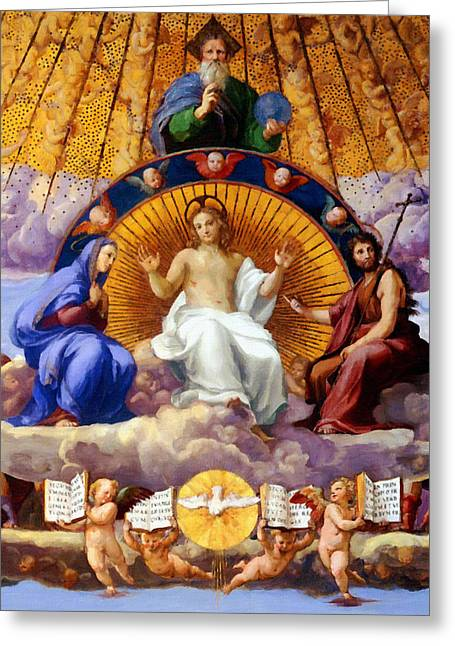 Calvary Greeting Cards - Religious Painting Greeting Card by Victor Gladkiy
