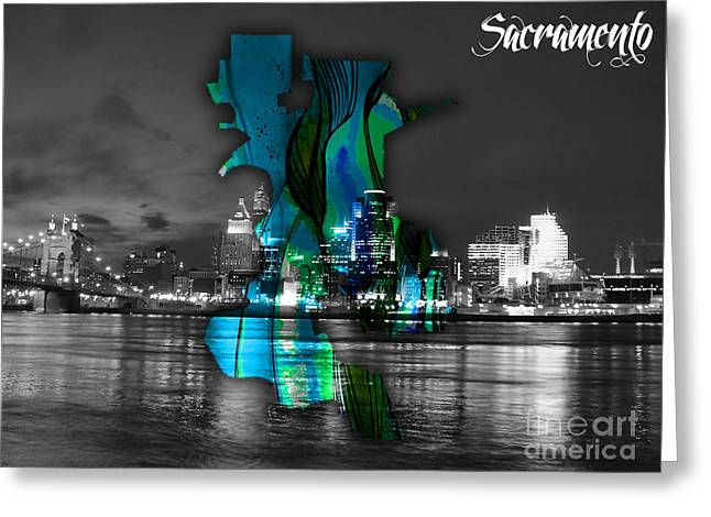 Sacramento Greeting Cards - Sacramento Map and Skyline Watercolor Greeting Card by Marvin Blaine