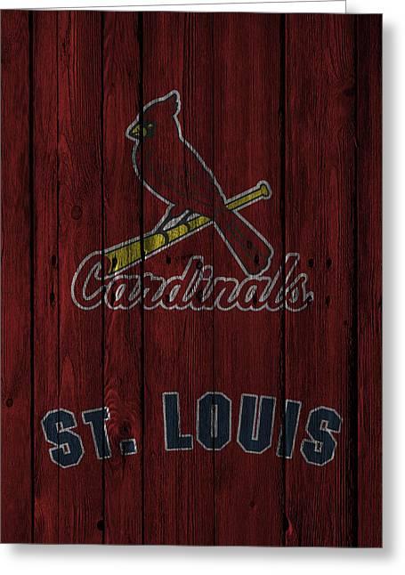 Glove Greeting Cards - St Louis Cardinals Greeting Card by Joe Hamilton