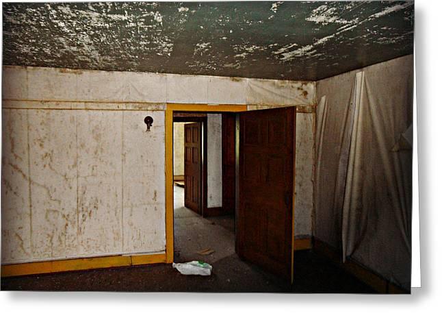 Old Barns Greeting Cards - The Perfect Creepy House Greeting Card by Cyryn Fyrcyd