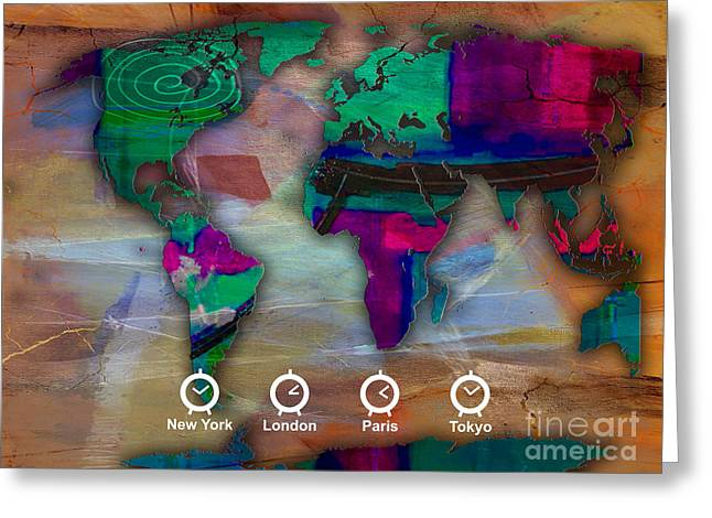 World Map Greeting Cards - World Map Watercolor Greeting Card by Marvin Blaine