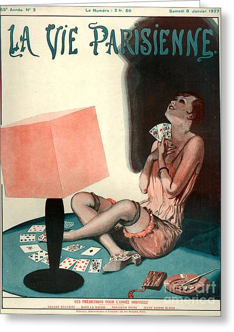 Playing Cards Drawings Greeting Cards - 1920s France La Vie Parisienne Magazine Greeting Card by The Advertising Archives