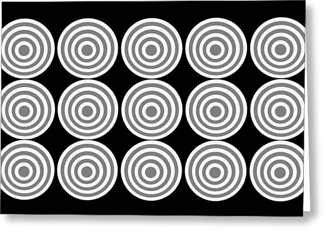 180 Circles Grayscale Greeting Card by Asbjorn Lonvig