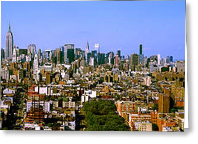Urban Images Greeting Cards - 180 Degree View Of A City, New York Greeting Card by Panoramic Images