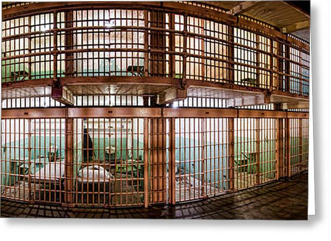 Alcatraz Greeting Cards - 180 Degree View Of The Corridor Greeting Card by Panoramic Images