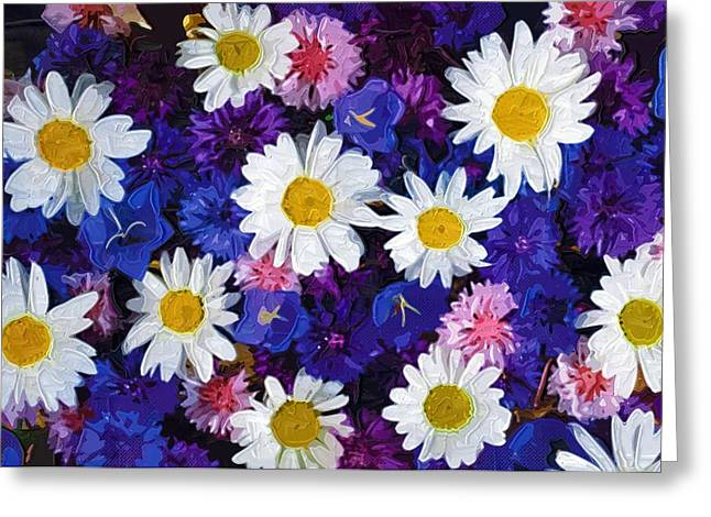 Close Up Paintings Greeting Cards - Flowers Paintings Greeting Card by Victor Gladkiy