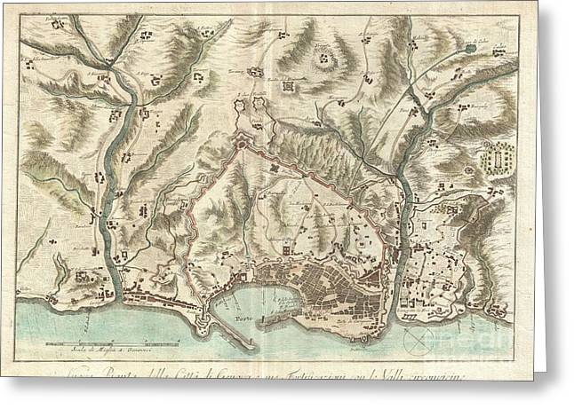 Masterful Greeting Cards - 1800 Bardi Map of Genoa Genova Italy  Greeting Card by Paul Fearn