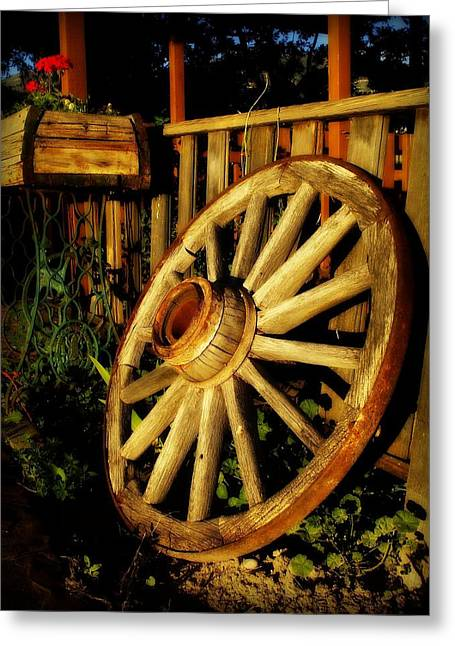 Wagon Wheels Pyrography Greeting Cards - 1800s Dub Greeting Card by Charity Duncan