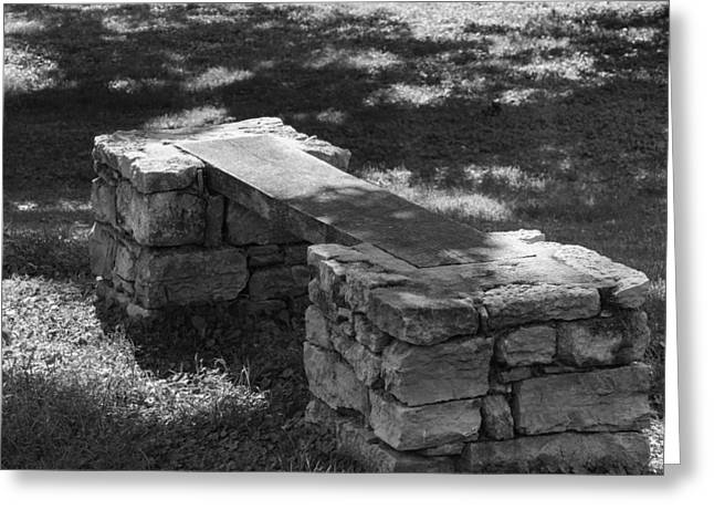 Belle Meade Greeting Cards - 1800s Stone and Wood Bench Greeting Card by Robert Hebert