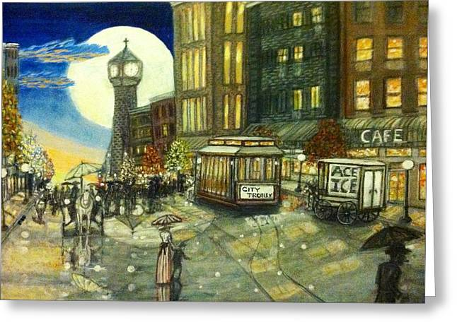 1800s Street Scene Painting Greeting Card by Larry E Lamb