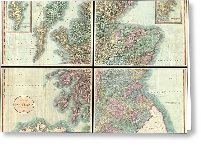 Old Roadway Greeting Cards - 1801 Cary Map of Scotland  Greeting Card by Paul Fearn