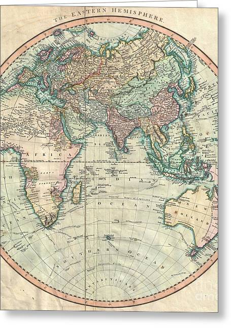 Map Of The Hand Greeting Cards - 1801 Cary Map of the Eastern Hemisphere  Greeting Card by Paul Fearn