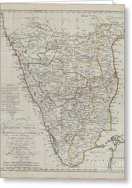 Roadway Greeting Cards - 1804 German Edition of the Rennel Map of India Greeting Card by Paul Fearn