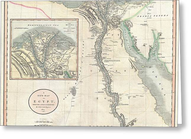 Sinai Monastery Greeting Cards - 1805 Cary Map of Egypt Greeting Card by Paul Fearn