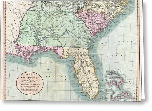 Best Sellers -  - Tennessee Historic Site Greeting Cards - 1806 Cary Map of Florida Georgia North Carolina South Carolina and Tennessee Greeting Card by Paul Fearn