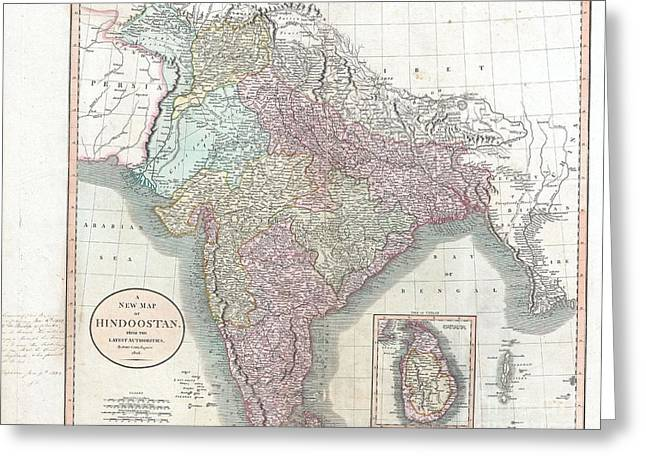 Snippet Greeting Cards - 1806 Cary Map of India or Hindoostan Greeting Card by Paul Fearn