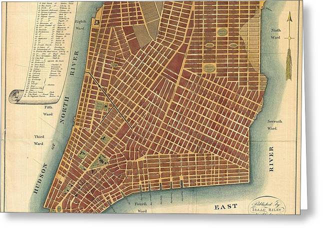 Pause Greeting Cards - 1807 Bridges Map of New York City Greeting Card by Paul Fearn