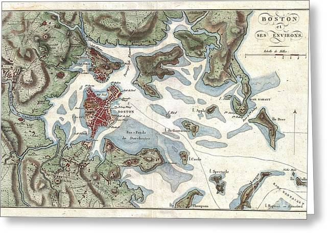 1807 Buache Map Of Boston Massachusetts Greeting Card by Paul Fearn