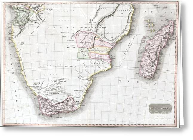 Inflamed Wall Greeting Cards - 1809 Pinkerton Map of Southern Africa Greeting Card by Paul Fearn