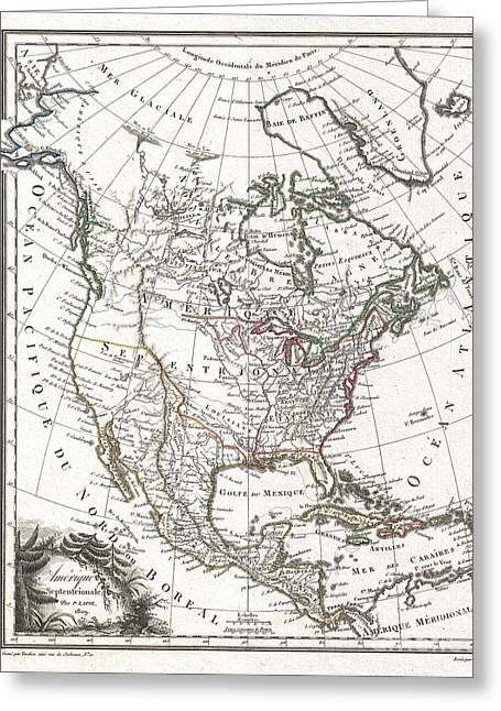 U.s On The Continent Of America Greeting Cards - 1809 Tardieu Map of North America  Greeting Card by Paul Fearn