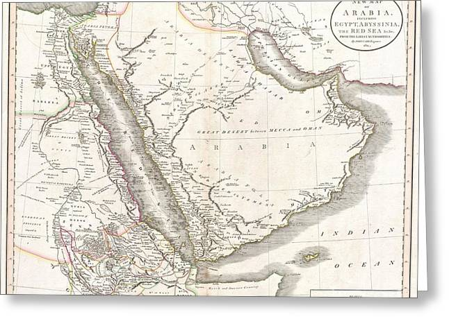 Buildings By The Ocean Photographs Greeting Cards - 1811 Cary Map of Arabia Egypt and Abyssinia Greeting Card by Paul Fearn