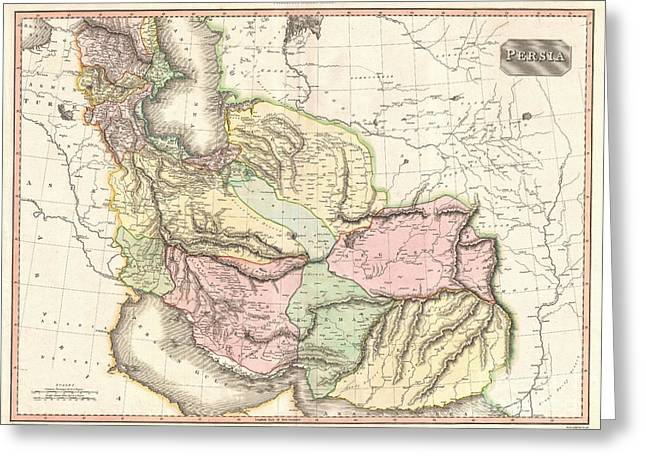Village By The Sea Greeting Cards - 1811 Pinkerton Map of Persia Greeting Card by Paul Fearn