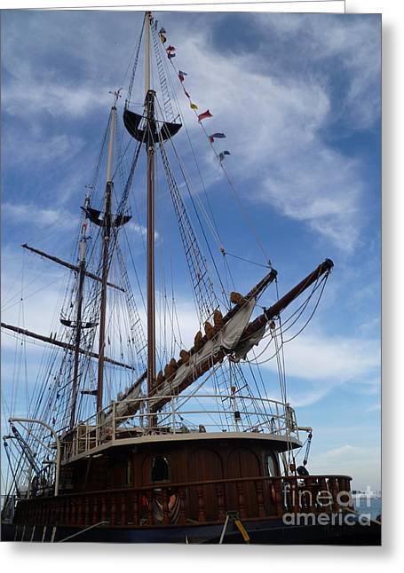 Tall Ships Greeting Cards - 1812 Tall Ships Peacemaker Greeting Card by Lingfai Leung