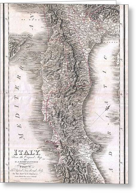 Correspond With Greeting Cards - 1814 Rizzi Zannoni Map of Italy Greeting Card by Paul Fearn