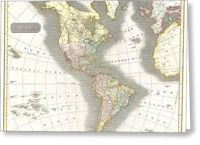 1814 Thomson Map Of North And South America Greeting Card by Paul Fearn