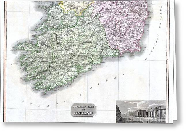 Cork Wall Paper Greeting Cards - 1814 Thomson Map of Southern Ireland Greeting Card by Paul Fearn