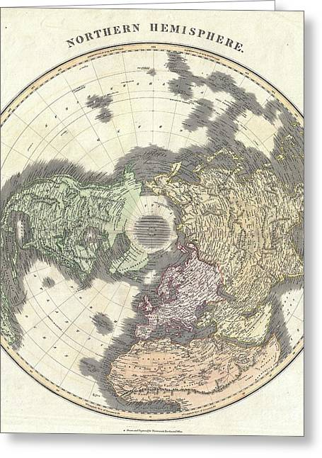 Geographic Location Greeting Cards - 1814 Thomson Map of the Northern Hemipshere and Arctic Greeting Card by Paul Fearn