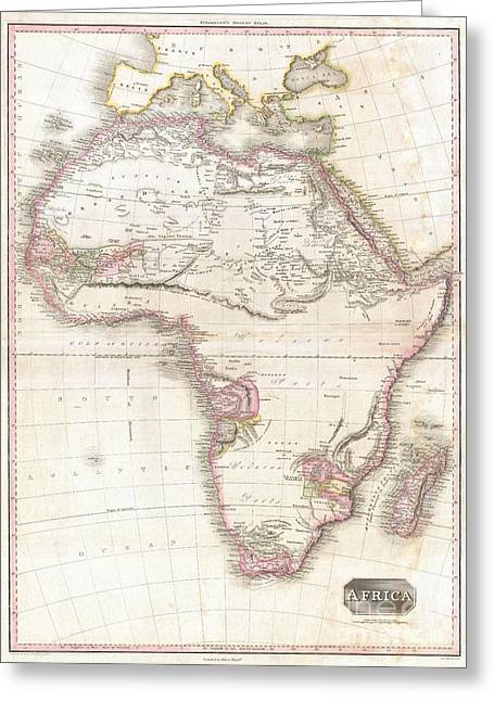 Though Blank Greeting Cards - 1818 Pinkerton Map of Africa Greeting Card by Paul Fearn
