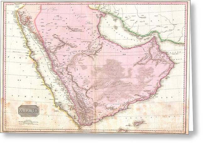 Ill-fated Greeting Cards - 1818 Pinkerton Map of Arabia and the Persian Gulf Greeting Card by Paul Fearn