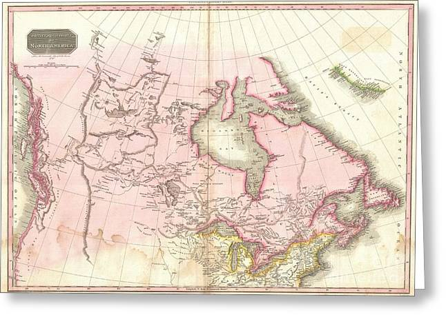 Travel Narratives Greeting Cards - 1818 Pinkerton Map of British North America or Canada Greeting Card by Paul Fearn