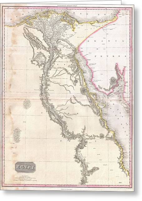 Village By The Sea Greeting Cards - 1818 Pinkerton Map of Egypt Greeting Card by Paul Fearn