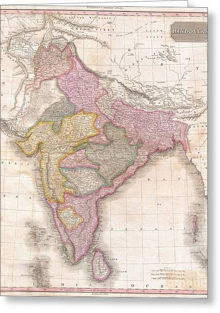 Coss Greeting Cards - 1818 Pinkerton Map of India Pakistan Afghanistan Tibet Nepal Sri Lanka Greeting Card by Paul Fearn