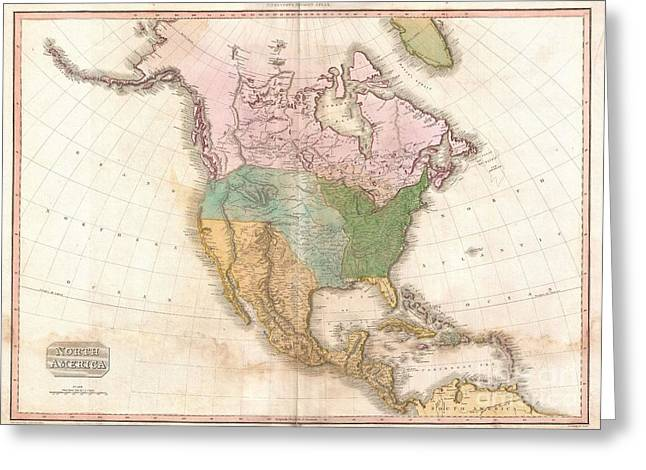 Further Traces Greeting Cards - 1818 Pinkerton Map of North America Greeting Card by Paul Fearn
