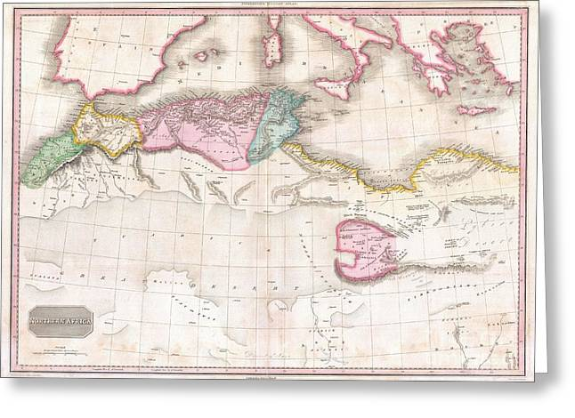 Critical Illustration Greeting Cards - 1818 Pinkerton Map of Northern Africa and the Mediterranean Greeting Card by Paul Fearn