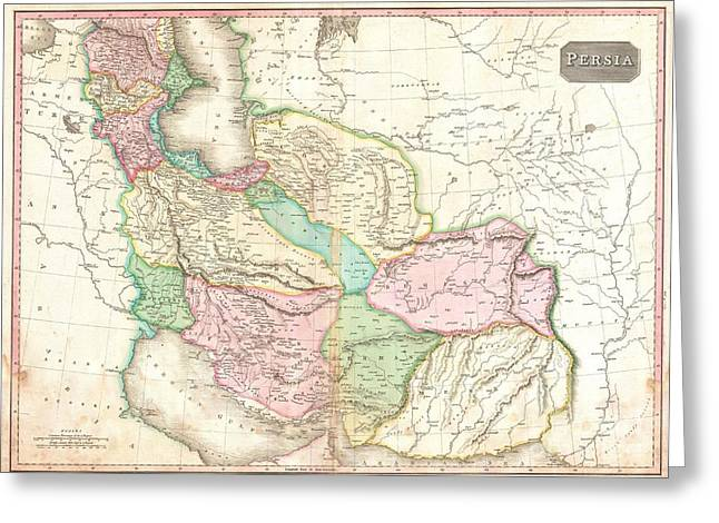 Geographic Location Greeting Cards - 1818 Pinkerton Map of Persia  Greeting Card by Paul Fearn