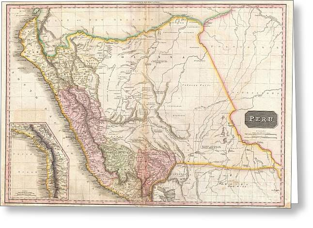 Inland Bodies Of Water Greeting Cards - 1818 Pinkerton Map of Peru Greeting Card by Paul Fearn