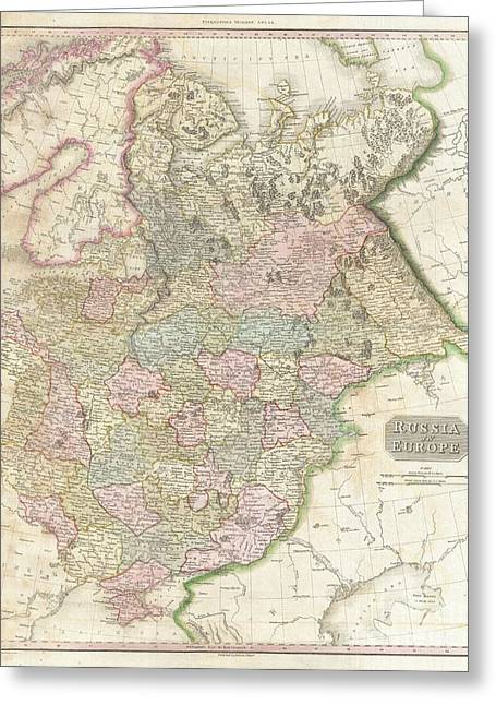 Old And In The Way Greeting Cards - 1818 Pinkerton Map of Russia in Europe Greeting Card by Paul Fearn