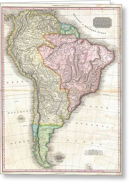1818 Pinkerton Map Of South America Greeting Card by Paul Fearn