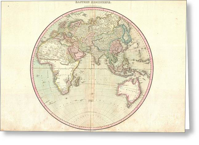 Except Greeting Cards - 1818 Pinkerton Map of the Eastern Hemisphere  Greeting Card by Paul Fearn