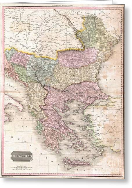 Old And In The Way Greeting Cards - 1818 Pinkerton Map of Turkey in Europe Greece and the Balkans Greeting Card by Paul Fearn