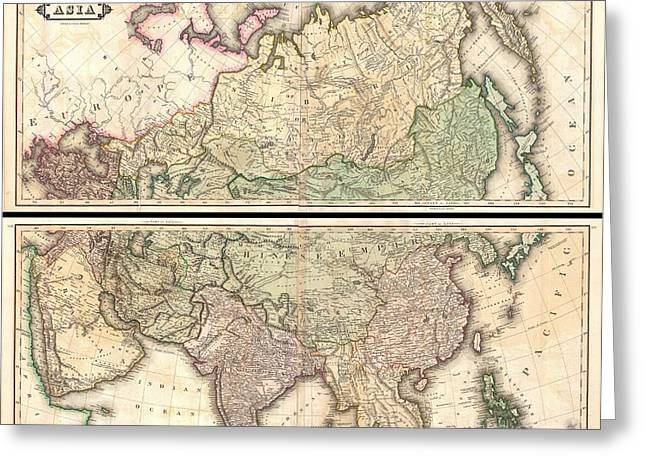 1820 Lizars Wall Map Of Asia Greeting Card by Paul Fearn