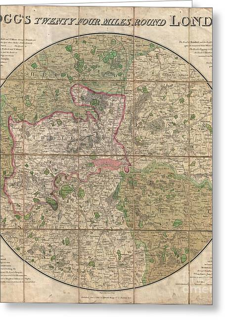 End Of Revolutionary War Greeting Cards - 1820 Mogg Pocket or Case Map of London Greeting Card by Paul Fearn