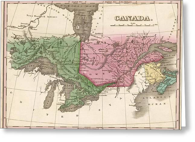 Colonial Man Digital Greeting Cards - 1824 Canada Vintage Map Print Greeting Card by Helena Kay