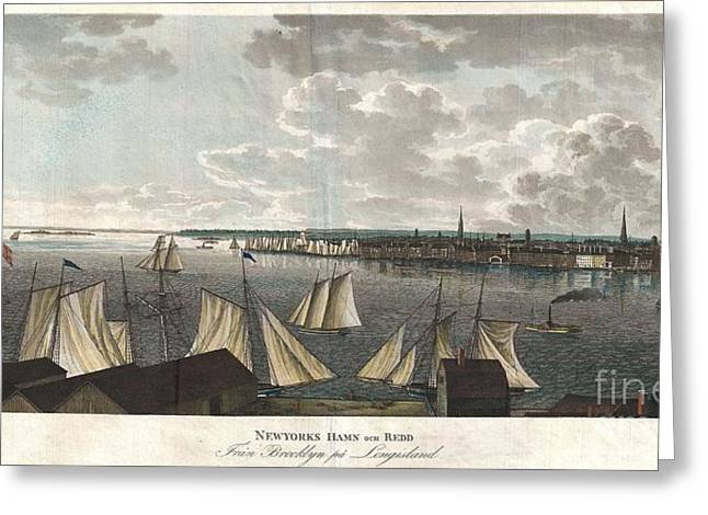 Ferry In New York Greeting Cards - 1824 Klinkowstrom View of New York City from Brooklyn  Greeting Card by Paul Fearn